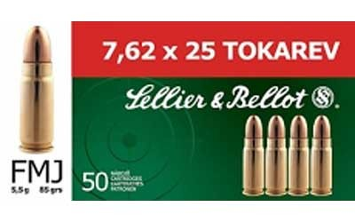 Sellier & Bellot 7.62x25 FMJ Ammo - 50rd Box