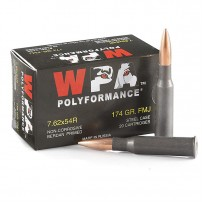 Wolf Polyformance 7.62X54R, 174 GR. FMJ Ammo - 500rd Case -Non Corrosive