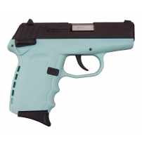SCCY CPX-1CBSB, 9mm Polymer Frame Pistol, With Safety, Blued Steel Slide on Tiffany Blue, DAO 10+1 w/ 2 Mags