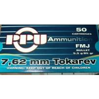 Prvi Partizan PPU 7.62x25 85grn FMJ Ammo - 50rd Box