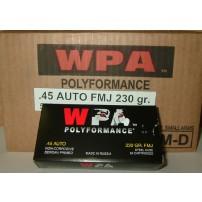 Wolf Polyformance .45 ACP 230gr FMJ Ammo - 500rd Case