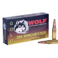 Wolf Gold .308 150gr Brass Cased Soft Point Ammo - 20rd Box