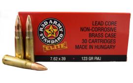 "Red Army Standard "" Elite ""  7.62x39 123gr FMJ Ammo - Brass, Boxer, Non Corrosive, Reloadable - 30 Round Box"