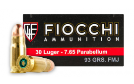 Fiocchi .30 Luger Ammo 93 Grain Full Metal Jacket (FMJ) 50 Rds / Box