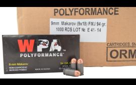 Wolf Polyformance 9x18 Makarov FMJ Ammo - 1000rd Case