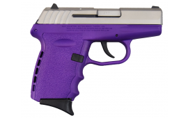SCCY CPX-2TTPU, 9mm Polymer Frame Pistol, Satin Stainless Slide on Purple, DAO 10+1 w/ 2 Mags