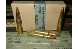 7.62x51 NATO by Hirtenberger Mfg (Austria), Brass, Boxer, Reloadable, Non Corrosive, Lead Core .308 -  20 Round Box