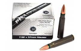 8 MM Mauser Ammunition, Romanian, New Production, 7.92x57mm, 170 gr. FMJ - 20 Rounds / Box