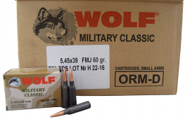 Wolf Military Classic 5.45x39 60gr FMJ Ammo - 750 Round Case