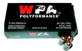 Wolf Polyformance 9x18 Makarov FMJ Ammo - 50rd Box